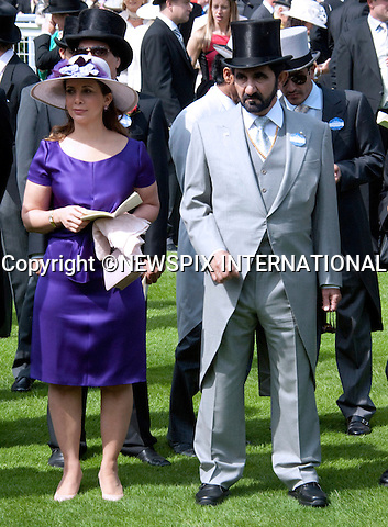 "MOHAMMED BIN RASHID AL MAKTOUM AND HAYA BINT AL HUSSEIN, ROYAL ASCOT.Royal Ascot Day 1, Ascot_14/11/2011.Mandatory Photo Credit: ©Shaw/NEWSPIX INTERNATIONAL..**ALL FEES PAYABLE TO: ""NEWSPIX INTERNATIONAL""**..PHOTO CREDIT MANDATORY!!: Newspix International(Failure to credit will incur a surcharge of 100% of reproduction fees)..IMMEDIATE CONFIRMATION OF USAGE REQUIRED:.Newspix International, .31 Chinnery Hill, Bishop's Stortford, ENGLAND CM23 3PS..Tel:+441279 324672  ; Fax: +441279656877..Mobile:  0777568 1153..e-mail: info@newspixinternational.co.uk"