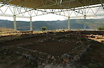 Lin-Pogradec-Albania - August 02, 2004---Partial view of the foundation of early religious constructions above the village of Lin, now protected by a giant roof due to project implementation by GTZ-Wiram-Albania (German Technical Cooperation, Deutsche Gesellschaft fuer Technische Zusammenarbeit (GTZ) GmbH); religion---Photo: Horst Wagner/eup-images