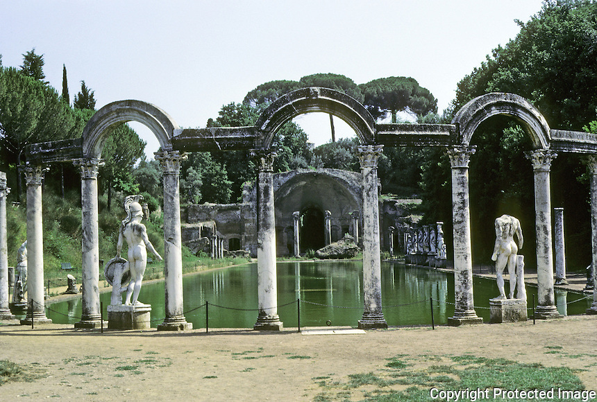 Italy: Tivoli--Hadrian's Villa, Canopus*.  From North side looking south. *A pool commemorating the Egyptian town of Canopus. Temple at south end recreates Temple of Serapis at Egyptian Canopus.  Photo '83.