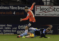 Josh McQuoid of Luton Town skips a challenge during the Sky Bet League 2 match between Luton Town and Wycombe Wanderers at Kenilworth Road, Luton, England on 26 December 2015. Photo by Liam Smith.