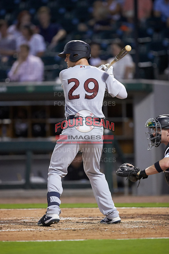 Trey Amburgey (29) of the Scranton/Wilkes-Barre RailRiders at bat against the Charlotte Knights at BB&T BallPark on August 13, 2019 in Charlotte, North Carolina. The Knights defeated the RailRiders 15-1. (Brian Westerholt/Four Seam Images)