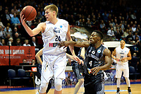 GRONINGEN - Basketbal, Donar - Cluj ,  Europe League, seizoen 2017-2018, 24-01-2018,  Donar speler Evan Bruinsma met Cluj  speler  Giordan Warson
