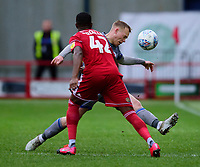 Lincoln City's Anthony Scully vies for possession with Accrington Stanley's Sadou Diallo<br /> <br /> Photographer Andrew Vaughan/CameraSport<br /> <br /> The EFL Sky Bet League One - Accrington Stanley v Lincoln City - Saturday 15th February 2020 - Crown Ground - Accrington<br /> <br /> World Copyright © 2020 CameraSport. All rights reserved. 43 Linden Ave. Countesthorpe. Leicester. England. LE8 5PG - Tel: +44 (0) 116 277 4147 - admin@camerasport.com - www.camerasport.com