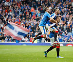 Lee Wallace celebrates fter scoring the third goal with Danny Wilson and Andy Halliday