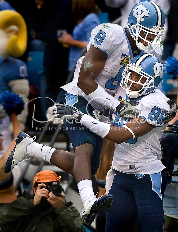 North Carolina running back Greg Little (8) and Hakeem Nicks (88) during the Meineke Car Care Bowl college football game at Bank of America Stadium in Charlotte, NC.