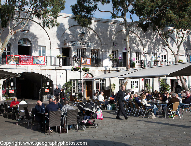 People and cafes in Grand Casemates Square, Gibraltar, British terroritory in southern Europe