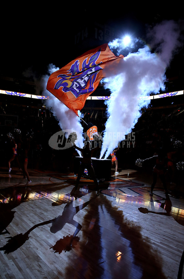 Jan. 24, 2013; Phoenix, AZ, USA: Phoenix Suns dancers perform prior to the game against the Los Angeles Clippers at the US Airways Center. The Suns defeated the Clippers 93-88. Mandatory Credit: Mark J. Rebilas-USA TODAY Sports