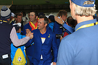 Paul Casey leaving the course after Team Europe win the 2018 Ryder Cup at Le Golf National, Ile-de-France, France. 30/09/2018.<br /> Picture Thos Caffrey / Golffile.ie<br /> <br /> All photo usage must carry mandatory copyright credit (&copy; Golffile | Thos Caffrey)