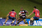 Kirisi Kuridrani looks to cut back infield towards David Havili and Sione Havili. Mitre 10 Cup rugby game between Counties Manukau Steelers and Tasman Mako, played at Navigation Homes Stadium Pukekohe on Friday September 6th 2019. Tasman won the game 36 - 0 after leading 24 - 0 at halftime.<br /> Photo by Richard Spranger.