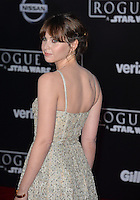 Actress Felicity Jones at the world premiere of &quot;Rogue One: A Star Wars Story&quot; at The Pantages Theatre, Hollywood. <br /> December 10, 2016<br /> Picture: Paul Smith/Featureflash/SilverHub 0208 004 5359/ 07711 972644 Editors@silverhubmedia.com
