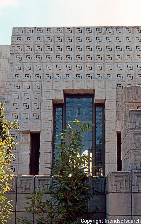 F.L. Wright: Ennis-Brown House. Detail.  Photo '82.