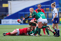 Kathryn Dane of Ireland in action during the Women's Six Nations match between Wales and Ireland at Cardiff Arms Park, Cardiff, Wales, UK. Sunday 17 March 2019