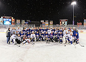 The Frozen Frontier Buffalo Sabres vs. Rochester Amerks Alumni team photo after the game at Frontier Field on December 15, 2013 in Rochester, New York.  Amerks team members include Kenton Rein, Tom Askey, Daryl Drader, Mike Hurlbut, Ray Maluta, Steve Ludzik, Jody Gage, Steve Langdon, Scott Metcalfe, Geoff Peters, Scott McCroy, Randy Cunneyworth, Paul Brydges, Jim Wiemer, Scott Nichol, Kevin Bolibruck, Chris Palmer, Dan Frawley, Brian McKinnon, David Cullen, Jim Hofford, Geordie Robertson, Gates Orlando, Jim Pettie;  Sabres Alumni included Martin Biron, Richie Dunn, Grant Ledyard, Craig Muni, Darryl Shannon, Yuri Khmylev, Ric Seiling, Danny Gare, Derek Smith, Brad May, Rob Ray, Matthew Barnaby, Richard Smehlik, Craig Rivet, Jay McKee, Andrew Peters, Rene Robert, Harry Neale;  Officials were Brian Lemon, John Galipeau, Marty Reeners, Dave Principe.  (Copyright Mike Janes Photography)