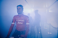 Jasper Stuyven (BEL/Trek-Segafredo) at the pre-race team presentation in the legendary Kuipke Velodrome<br /> <br /> <br /> Omloop Het Nieuwsblad 2018<br /> Gent &rsaquo; Meerbeke: 196km (BELGIUM)