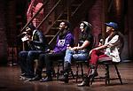 Nik Walker, Tyler McKenzie, Lauren Boyd and Sasha Hollinger  during the #EduHam Q & A at the Richard Rodgers Theatre on November 15, 2017 in New York City.