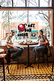 USA, Colorado, Aspen, a couple has lunch at The Red Onion restaurant in downtown