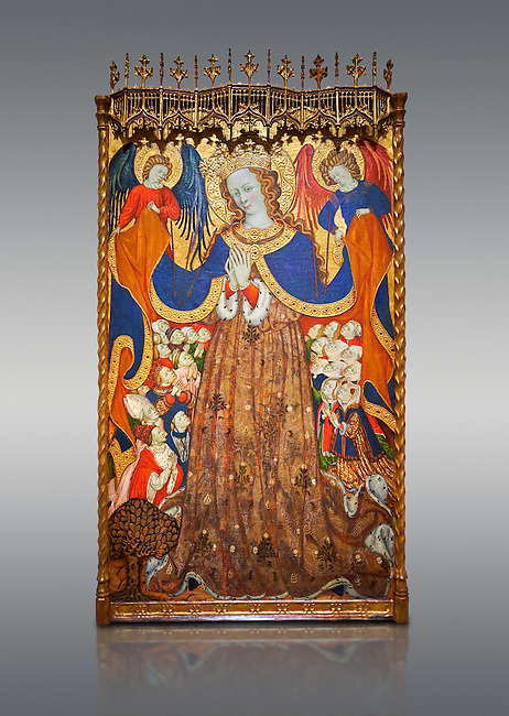 Gothic Catalan altarpiece depicting the Madonna of Mercy by Bonant Zaortiga, circa 1430-1440, tempera and gold leaf on wood, from the church of Mare de Dieu de Carrasca , Blancas, Terol, Spain<br /> Bonnat Zaortiga was one of the most prominent representatives of the international Gothic. The Mother of God of Mercy  protects humans with her cape, symbolizing one of the most feared evils of the European Middle Ages, plague, often understood as a punishment for the sins of mankind. This was the central panel of the altarpiece of the church of the Mother of God. National Museum of Catalan Art, Barcelona, Spain, inv no: MNAC 3945.