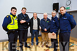 Gda Ross McGrath, Gda Enda McInerney, Pat DIneen, Barry Carey (IFA), Gda Bernard Gainey and Sgt Gary Carroll, the guest speakers at the Kilmoyley public meeting on Monday night at the community centre in Kilmoyley
