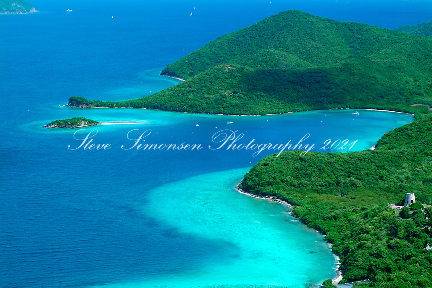 Aerial view of Annaberg Plantaion ruins<br /> showing Leinster Bay and<br /> Waterlemon Cay<br /> Virgin Islands National Park<br /> St. John<br /> U.S. Virgin Islands