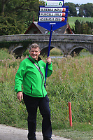 Kevin Stevens carrying the score board for the 2nd Irish match on the 1st during Round 3 of the WATC 2018 - Eisenhower Trophy at Carton House, Maynooth, Co. Kildare on Friday 7th September 2018.<br /> Picture:  Thos Caffrey / www.golffile.ie<br /> <br /> All photo usage must carry mandatory copyright credit (&copy; Golffile | Thos Caffrey)