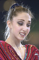 October 20, 2001; Madrid, Spain:  ELIZABETH PAISIEVA of Bulgaria performs with ball at 2001 World Championships at Madrid.