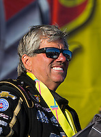 Apr 12, 2015; Las Vegas, NV, USA; NHRA funny car driver John Force celebrates after winning the Summitracing.com Nationals at The Strip at Las Vegas Motor Speedway. Mandatory Credit: Mark J. Rebilas-
