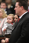 Nevada Assembly Speaker John Oceguera, D-Las Vegas, and his wife Janie and their son Jackson, 1, listen to opening day ceremonies on the Assembly floor at the Legislature in Carson City, Nev. on Monday, Feb. 7, 2011. .Photo by Cathleen Allison