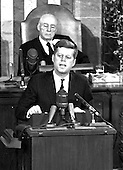 "United States President John F. Kennedy outlined his vision for manned exploration of space to a Joint Session of the United States Congress, in Washington, DC on May 25, 1961 when he declared, ""...I believe this nation should commit itself to achieving the goal, before this decade is out, of landing a man on the Moon and returning him safely to the Earth."" This goal was achieved when astronaut Neil A. Armstrong became the first human to set foot upon the Moon at 10:56 p.m. EDT, July 20, 1969.  Shown in the background is Speaker of the House Sam T. Rayburn (Democrat of Texas). <br /> Credit: Arnie Sachs / CNP"