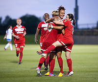 Lori Lindsey (6) of the Washington Spirit celebrates her goal with teammates Kika Toulouse (3) and Diana Matheson (8) during the game at the Maryland SoccerPlex in Boyds, MD.  Washington tied Boston, 1-1.