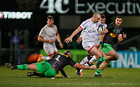 Saturday 7th December 2019 | Ulster Rugby vs Harlequins<br /> <br /> Matt Faddes is tap tackled by Joe Marler during the Heineken Champions Cup Round 3 clash in Pool 3, between Ulster Rugby and Harlequins at Kingspan Stadium, Ravenhill Park, Belfast, Northern Ireland. Photo by John Dickson / DICKSONDIGITAL