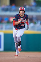 Peoria Chiefs first baseman Alex De Leon (34) running the bases during a game against the Lansing Lugnuts on June 6, 2015 at Cooley Law School Stadium in Lansing, Michigan.  Lansing defeated Peoria 6-2.  (Mike Janes/Four Seam Images)