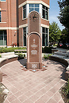 The new Vincentian Bicentennial Monument, installed outside Arts and Letters Hall on DePaul University's Lincoln Park Campus. The clock celebrates the 200th anniversary of the arrival of the Vincentian Fathers and Brothers to the United States. It also honors the members of the Congregation of the Mission who have served at DePaul Academy from 1898 to 1968, and at St. Vincent's College and DePaul University since 1898. (DePaul University/Jamie Moncrief)