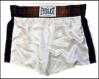 BNPS.co.uk (01202 558833)<br /> Pic: GreyFlannelAuctions/BNPS<br /> <br /> Ali's legendary 'Rope a Dope' trunks for sale.<br /> <br /> Iconic item from the 'Rumble in the Jungle' in Zaire - the most famous fight of all time - have emerged for sale.<br /> <br /> The white silk shorts were kept by Ali's business manager Gene Kilroy after the 1974 contest which saw Ali defeat world heavyweight champion George Foreman in Zaire.<br /> <br /> They have been owned by two private collectors over the last 42 years and are now being sold in the US for an estimated &pound;70,000.
