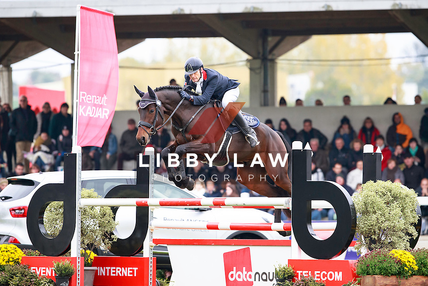 FRA-Jean Lou Bigot rides Aktion De Belheme during the CCI1*6YO Showjumping at 2016 Mondial du Lion FEI World Breeding Eventing Championships for Young Horses. Sunday 23 October. Copyright Photo: Libby Law Photography