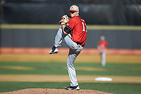 Gardner-Webb Runnin' Bulldogs starting pitcher Landon Mitchell (11) in action against the Wake Forest Demon Deacons at David F. Couch Ballpark on February 18, 2018 in  Winston-Salem, North Carolina. The Demon Deacons defeated the Runnin' Bulldogs 8-4 in game one of a double-header.  (Brian Westerholt/Four Seam Images)