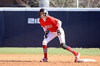 GREENSBORO, NC - FEBRUARY 22: Amanda Ulzheimer #7 of Fairfield University waits on second base during a game between Fairfield and North Carolina at UNCG Softball Stadium on February 22, 2020 in Greensboro, North Carolina.