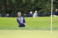 Raphael Jacquelin (FRA) chips from a bunker onto the 10th green during Friday's storm delayed Round 2 of the Andalucia Valderrama Masters 2018 hosted by the Sergio Foundation, held at Real Golf de Valderrama, Sotogrande, San Roque, Spain. 19th October 2018.<br /> Picture: Eoin Clarke | Golffile<br /> <br /> <br /> All photos usage must carry mandatory copyright credit (&copy; Golffile | Eoin Clarke)