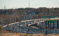 KEASBEY NEW JERSEY, NJ - NOVEMBER 17: Vehicles move along the Garden State Park Way on November 17, 2017 in New Jersey. United States still contributting to the global greenhouse gas emissions as the Trump Administration have dismantled the U.S. foreign-policy to reduce carbon pollution, political divisions in the United States over climate change spilled over to the outside world has been seen at the COP23 United Nations Climate Change Conference that ends today in Bonn, Germany (Photo by Kena Betancur/VIEWpress/Corbis via Getty Images)