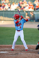 Peoria Chiefs center fielder Brandon Riley (5) during a Midwest League game against the Bowling Green Hot Rods at Dozer Park on May 5, 2019 in Peoria, Illinois. Peoria defeated Bowling Green 11-3. (Zachary Lucy/Four Seam Images)