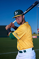 AZL Athletics Gold Rafael Rincones (8) poses for a photo before an Arizona League game against the AZL Rangers on July 15, 2019 at Hohokam Stadium in Mesa, Arizona. The AZL Athletics Gold defeated the AZL Rangers 9-8 in 11 innings. (Zachary Lucy/Four Seam Images)