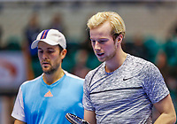 Rotterdam, Netherlands, December 15, 2017, Topsportcentrum, Ned. Loterij NK Tennis, Doubles: Boy Westerhof (NED) and Botic van de Zandschulp (NED) (R)<br /> Photo: Tennisimages/Henk Koster