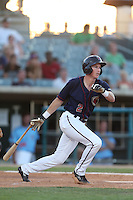 Jordan Scott #2 of the Lancaster JetHawks bats against the Inland Empire 66ers at The Hanger on May 26, 2014 in Lancaster, California. Lancaster defeated Inland Empire, 6-5. (Larry Goren/Four Seam Images)