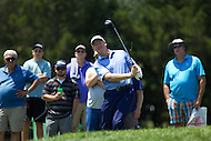 Gainesville, VA - August 2, 2015:    Ernie Els takes his third shot on hole 5 during the Quicken Loans National at the Robert Trent Jones Golf Club in Gainesville, VA. August 2, 2015.  (Photo by Elliott Brown/Media Images International)