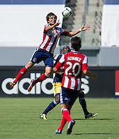 CARSON, CA - August 25, 2013: Chivas USA forward Erick Torres (10) during the Chivas USA vs New York Red Bulls match at the StubHub Center in Carson, California. Final score, Chivas USA 3, New York Red Bulls 2.