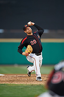 Rochester Red Wings relief pitcher Dietrich Enns (20) delivers a pitch during a game against the Lehigh Valley IronPigs on September 1, 2018 at Frontier Field in Rochester, New York.  Lehigh Valley defeated Rochester 2-1.  (Mike Janes/Four Seam Images)