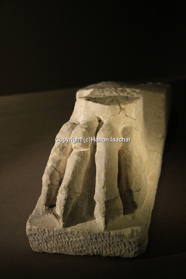 A furniture leg in a shape of paw from King Herod's palace in Kypros, 1st century BC, on display at the Israel Museum
