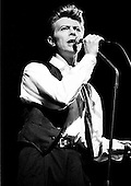 David Bowie - performing live on the Sound+Vision on the first of three consecutive sold out nights at the Docklands Arena in London UK - 26 Mar 1990.  Photo credit: Ian Dickson/IconicPix  **Lo-res Image**