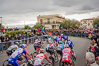 with just 500 meters to go (and a guaranteed bunch sprint finish) there were 2 tight, small , tricky 90° corners to be manoeuvred...  corners that were eventually navigated without incidents <br /> <br /> Stage 3: Vinci to Orbetello (219km)<br /> 102nd Giro d'Italia 2019<br /> <br /> ©kramon