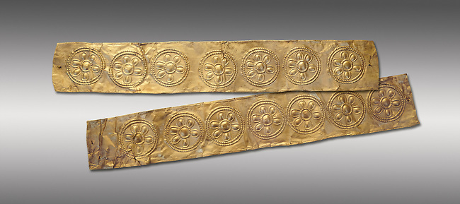 Mycenaean Gold decrated bands  from Grave IV, Grave Circle A, Myenae, Greece. National Archaeological Museum Athens. 16th Cent BC. Grey Background