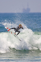 American Luke Davis boosts an air during round of 96 at the 2010 US Open of Surfing in Huntington Beach, California on August 4, 2010.